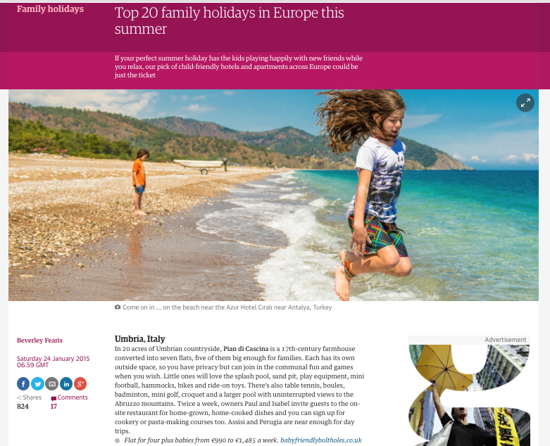press reviews 'Top 20 Family Holidays in Europe this Summer' The Guardian 2015